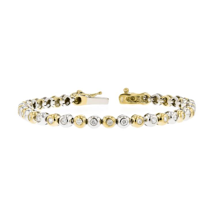 Stunning Modern Ladies 14K Two-Tone White Yellow Gold Diamond Bracelet - 1.11CTW