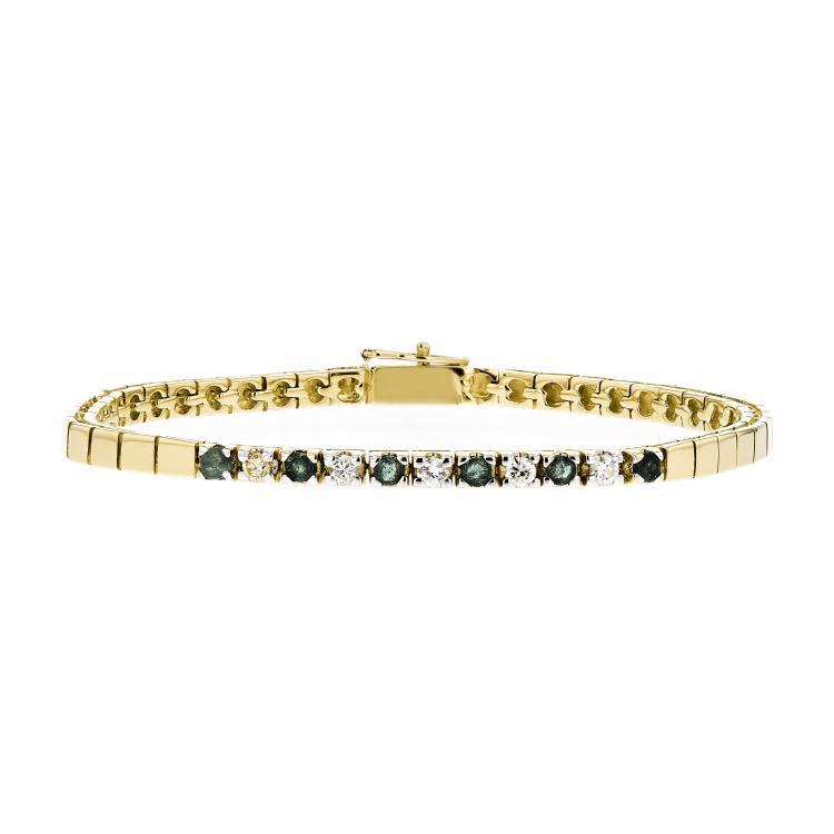 Exquisite Modern Ladies 14K Yellow Gold Diamond & Green Emerald Bracelet - New