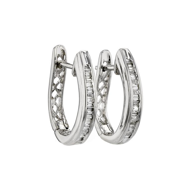 Stunning Modern Ladies 14K White Gold Diamond Huggie Hoops Earrings - Brand New