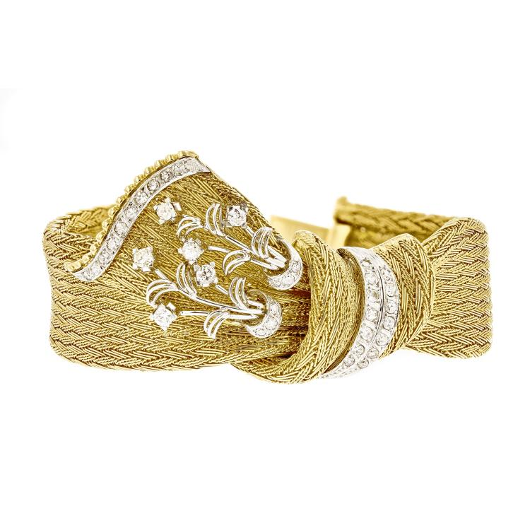 Modern Ladies 18K Two-Tone Gold Unique Design Diamond Bracelet - 1.38CTW - New