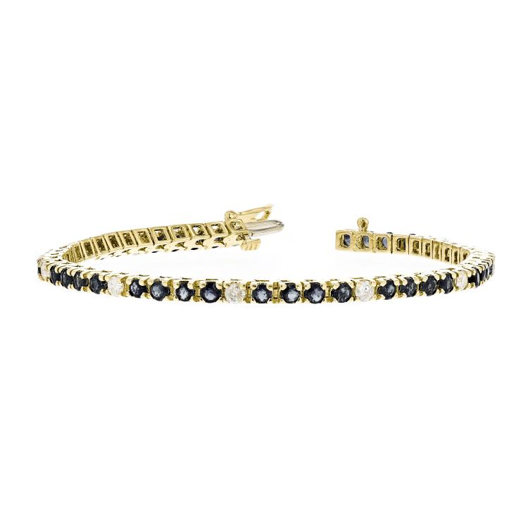 Exquisite Modern 14K Yellow Gold Ladies Diamond & Blue Sapphire Bracelet - New