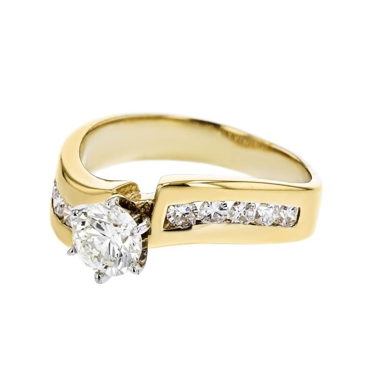 Stylish Modern Ladies 14K White & Yellow Gold Diamond Ring - Brand New