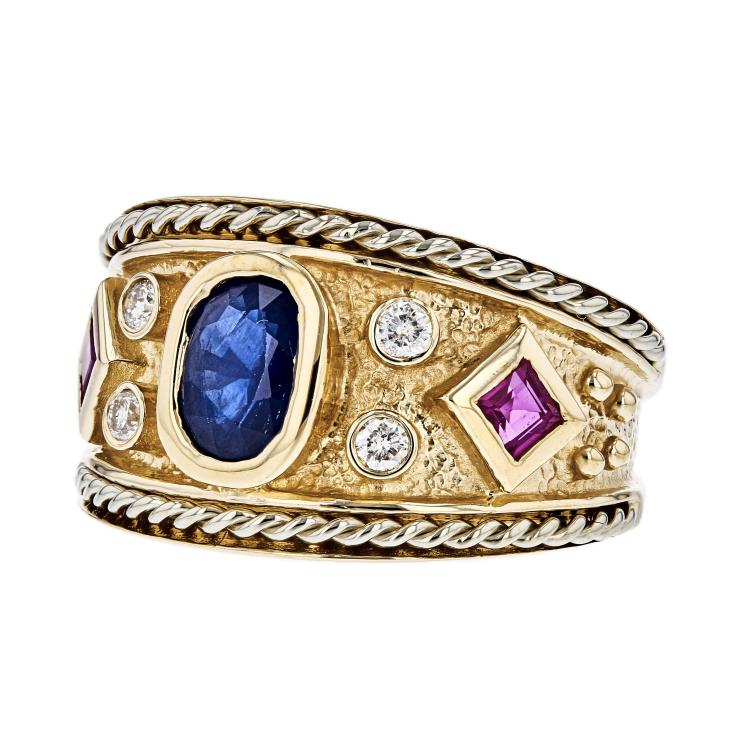 Stunning Modern 14K Yellow Gold Diamond, Ruby & Sapphire Ladies Ring - Brand New