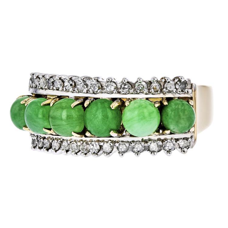 Stunning Modern 14K Yellow Gold Diamond & Green Jade Ladies Ring - Brand New