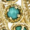 Exquisite Modern 14K Yellow Gold Blueish Green Turquoise Ladies Ring - Brand New
