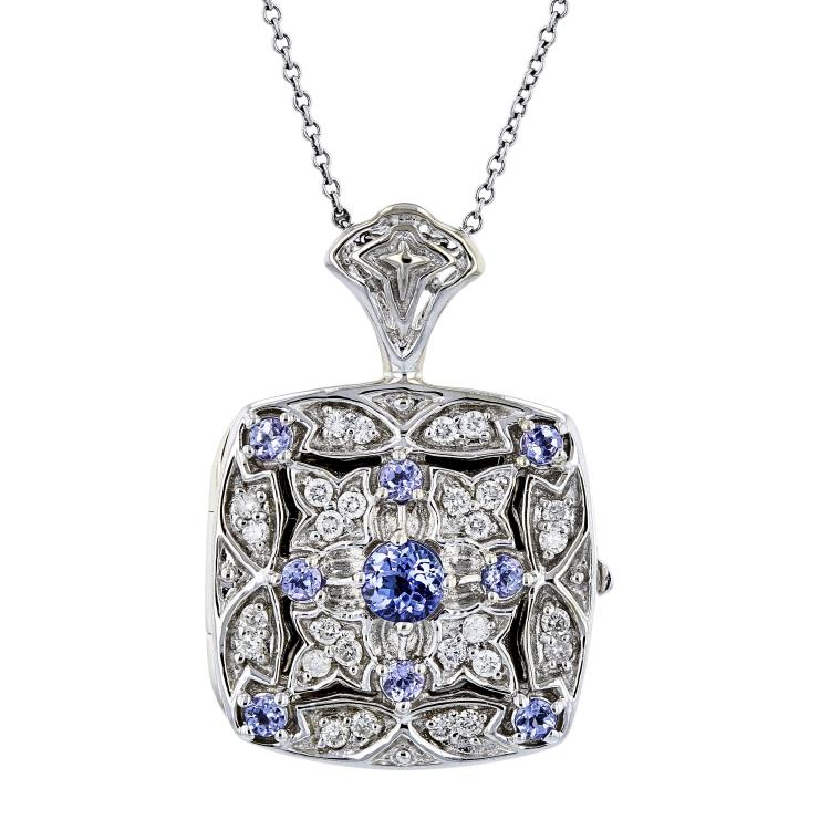 Modern Ladies 14K White Gold Blue Tanzanite Diamond Chain Necklace & Pendant Set