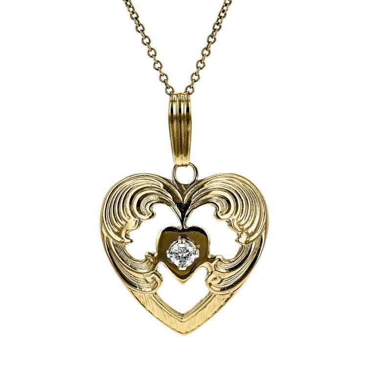 Modern Ladies 14K Yellow Gold Diamond Heart-Shaped Chain Necklace & Pendant Set