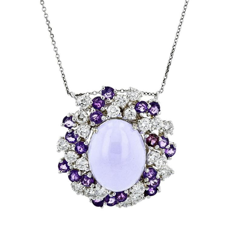 Ladies 14K White Gold Purple Jade, Amethyst & Diamond Necklace & Pendant Set NEW