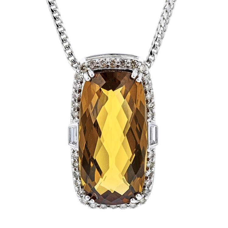 Ladies 14K/18K White Gold Orange Citrine & Brown Diamond Necklace & Pendant Set