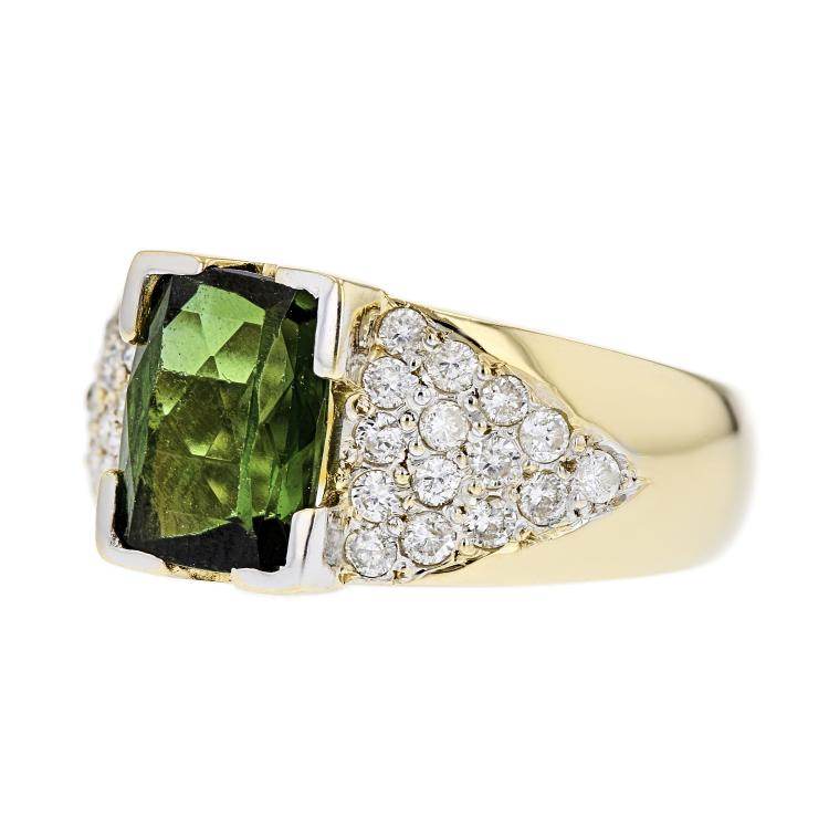Gorgeous Modern Ladies 14K Yellow Gold Diamond & Tourmaline Ring - Brand New