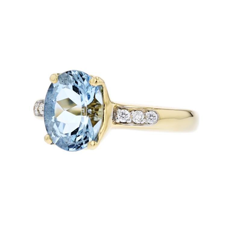 Charming Modern Lady's 18K Yellow Gold Diamond & Aquamarine Ring - Brand New