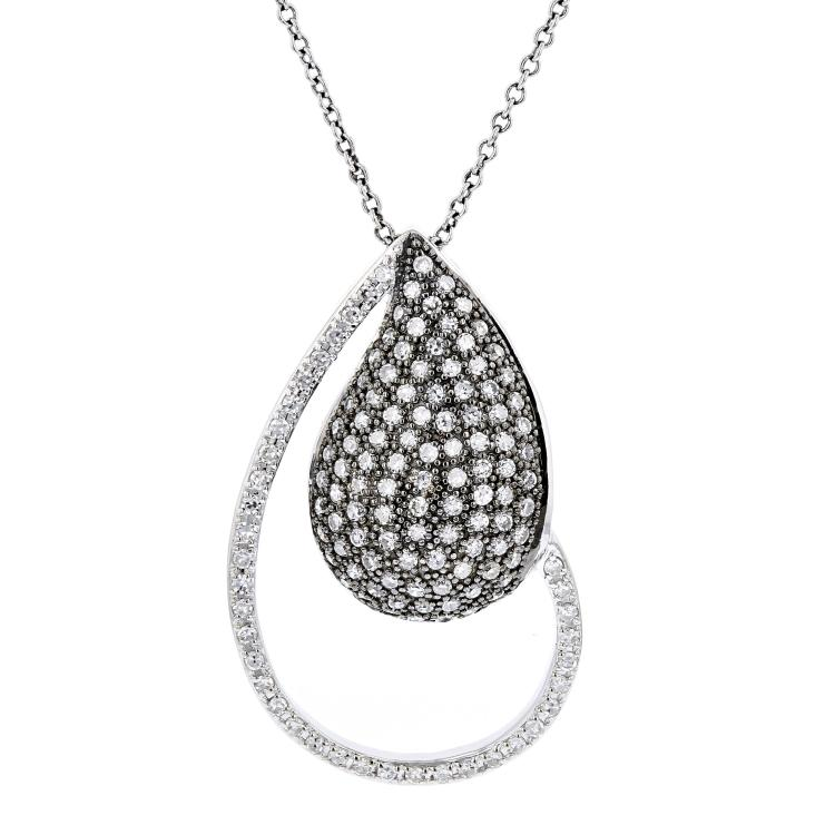Modern Ladies 14K White Gold Black Rhodium Diamond Necklace & Pendant Set - New