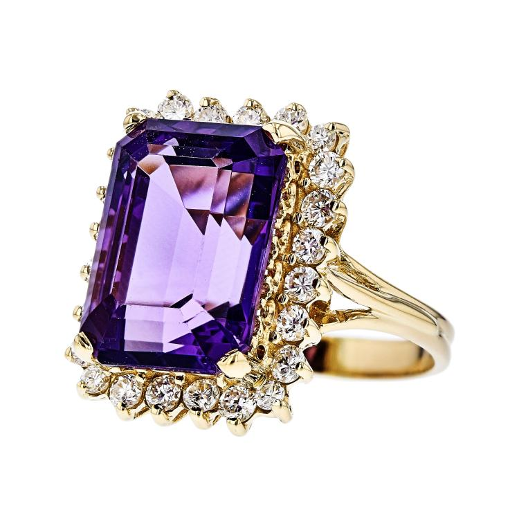 Fancy Modern 14K Yellow Gold Diamond & Purple Amethyst Ladies Statement Ring