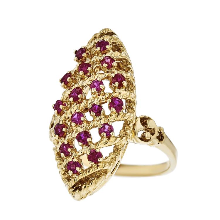 Gorgeous Modern Ladies 14K Yellow Gold Red Ruby Statement Ring - Brand New