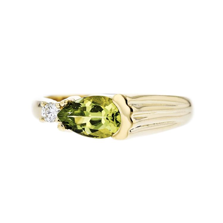Exquisite Modern Ladies 14K Yellow Gold Diamond & Peridot Ring - New