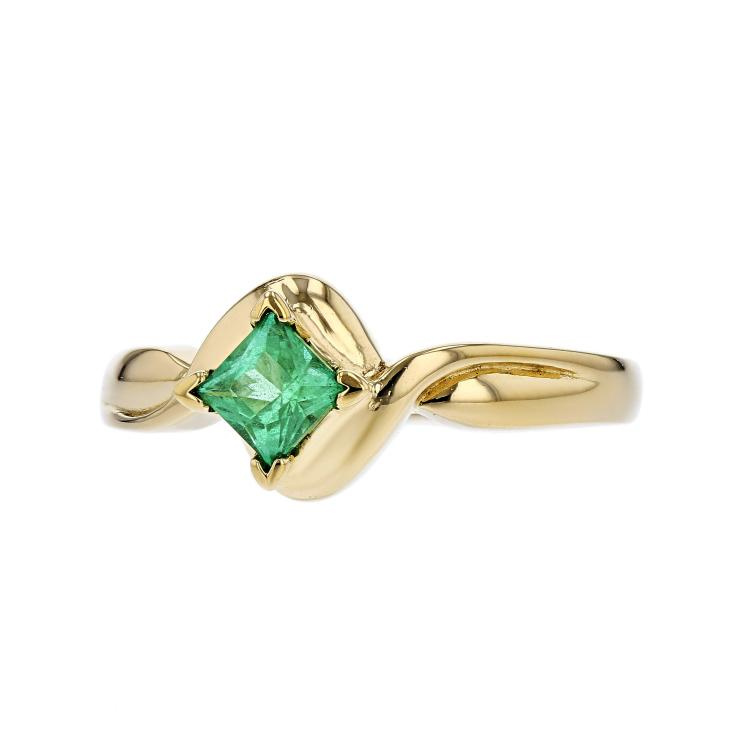 Elegant Modern 14K Yellow Gold Ladies Emerald Ring - Brand New