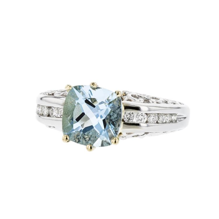 Stylish Modern 14K Two Tone White & Yellow Gold Diamond & Aquamarine Ladies Ring