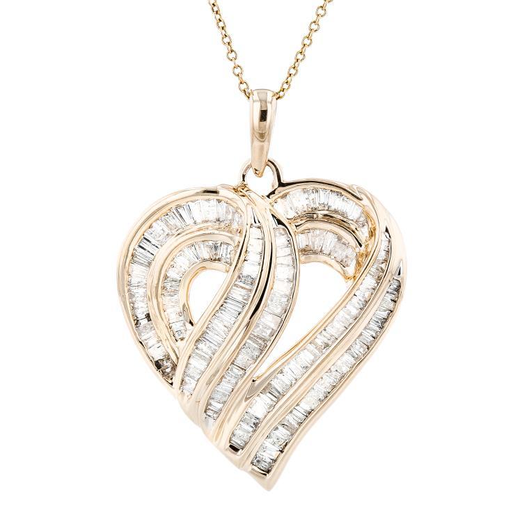 Ladies 10K Yellow Gold Diamond Chain Necklace & Floral Design Pendant Set 2.86CT