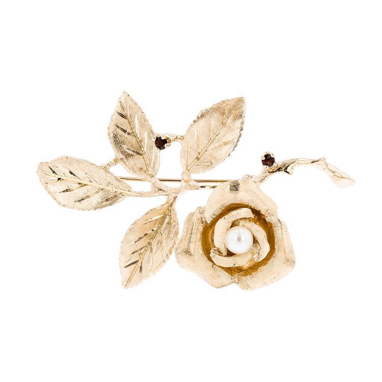Ladies 14K Yellow Gold Pearl & Garnet Chain Necklace & Floral Design Pendant Set