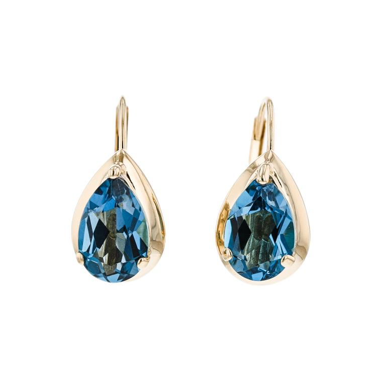 Charming Modern Ladies 14K Yellow Gold Blue Topaz Earrings - 2.60CTW - New