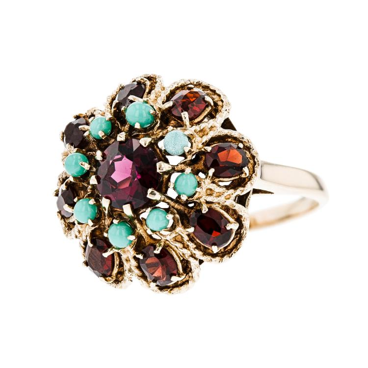Exquisite Modern Ladies 14K Yellow Gold Garnet & Turquoise Statement Ring