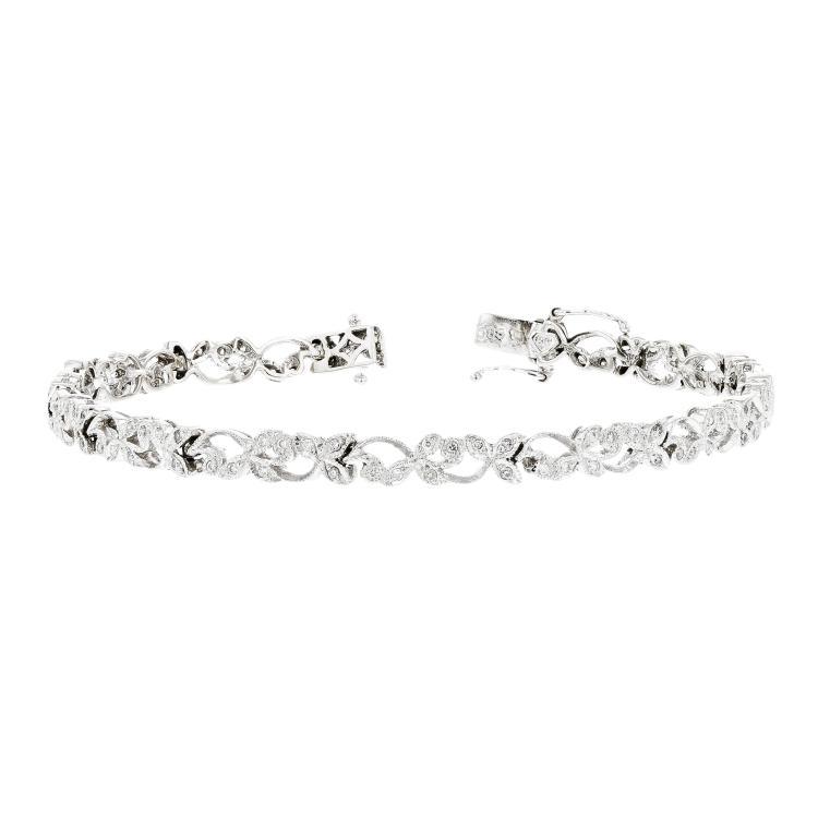 Stylish Modern Ladies 14K White Gold Diamond Bracelet Unique Design - Brand New