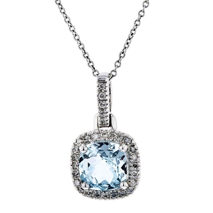 Modern Ladies 14K White Gold Blue Aquamarine & Diamond Necklace & Pendant Set