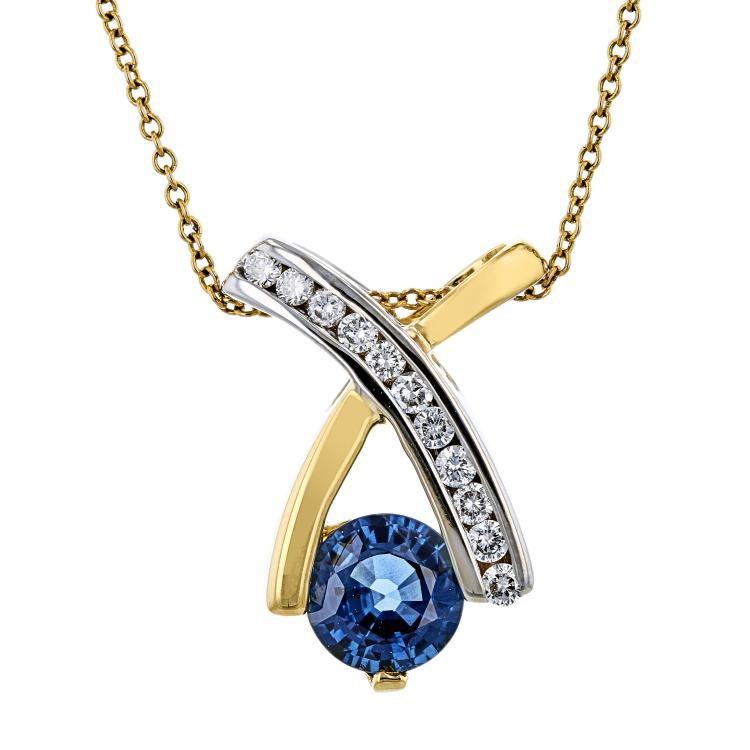 Ladies 14K Two-Tone Gold Blue Sapphire & Diamond Chain Necklace & Pendant Set