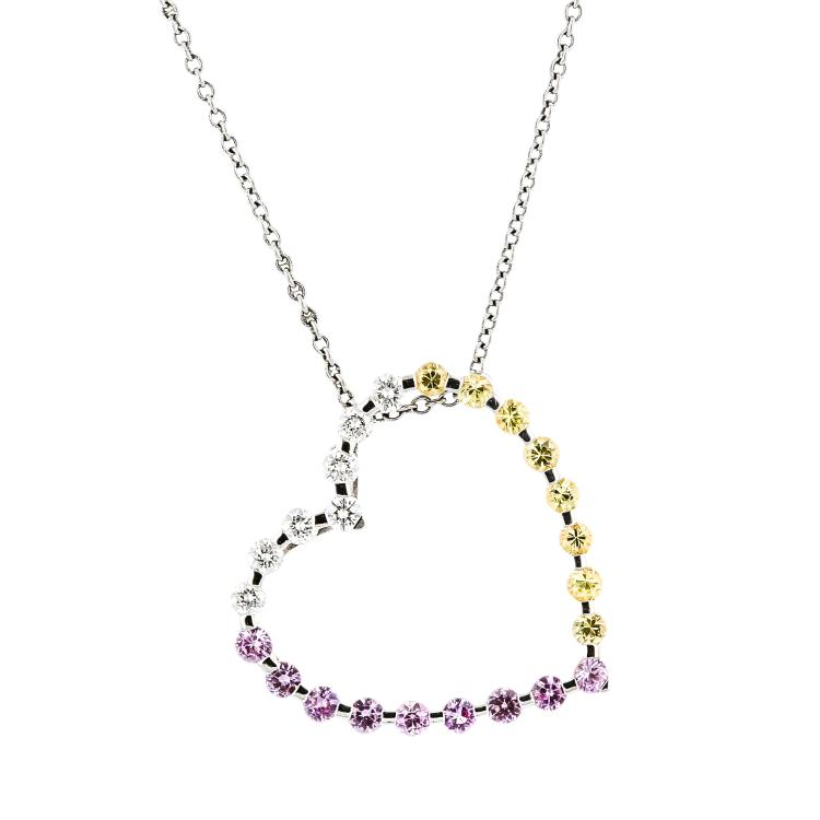 Modern Ladies 14K White Gold Pink Yellow Sapphire & Diamond Necklace & Pendant