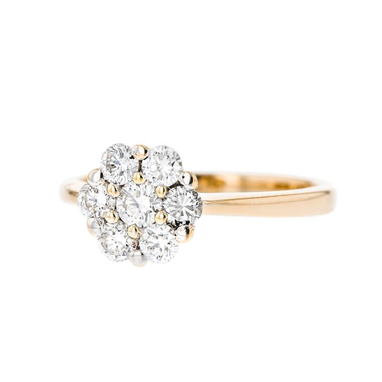 Charming Ladies 14K Yellow Gold Rosette Design Diamond Ring - Brand New