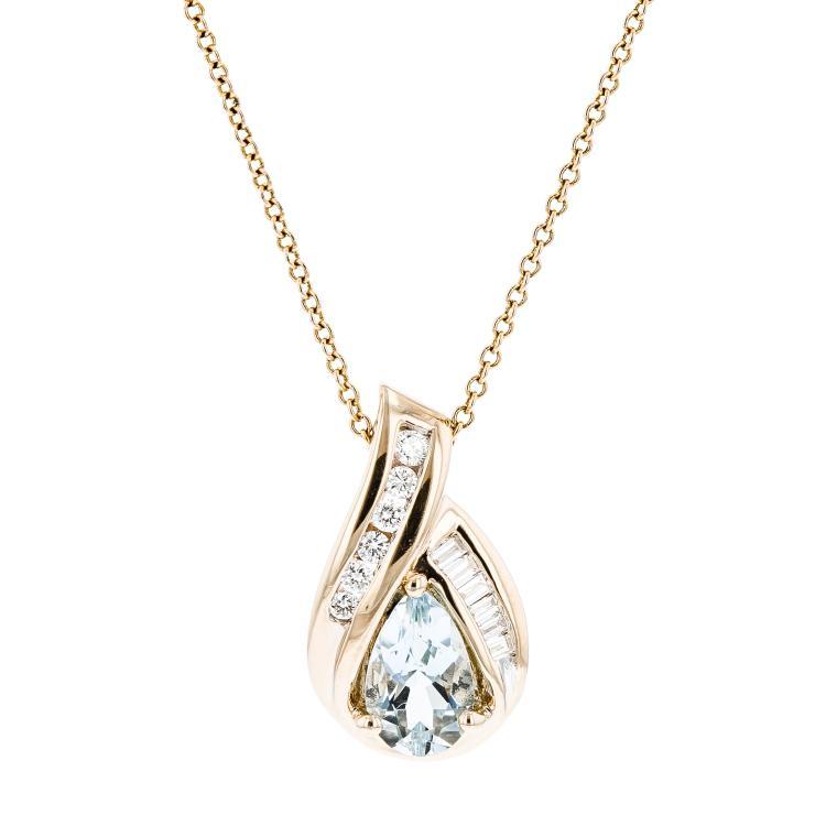 Ladies 14K Yellow Gold Blue Aquamarine & Diamond Chain Necklace & Pendant Set