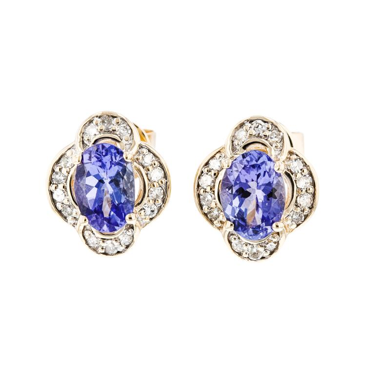 Charming Modern Ladies 14K Yellow Gold Diamond & Blue Tanzanite Earrings - New