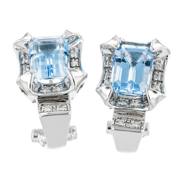 Elegant Modern Ladies 14K White Gold Diamond & Blue Topaz Earrings - Brand New