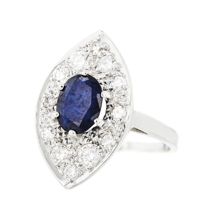 Gorgeous Modern 14K White Gold Diamond & Sapphire Women's Ring - Brand New