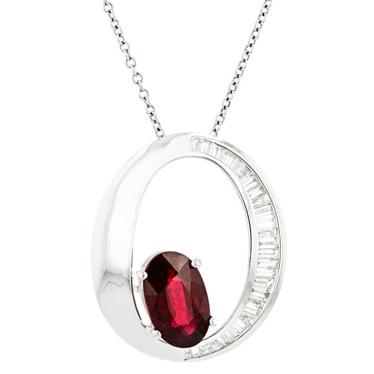 Modern Ladies 18K White Gold Dark Red Ruby Diamond Chain Necklace & Pendant Set