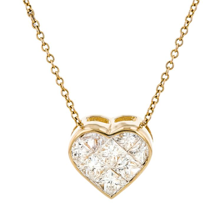 Modern Ladies 18K Yellow Gold Diamond Necklace & Heart-Shaped Pendant Set - New