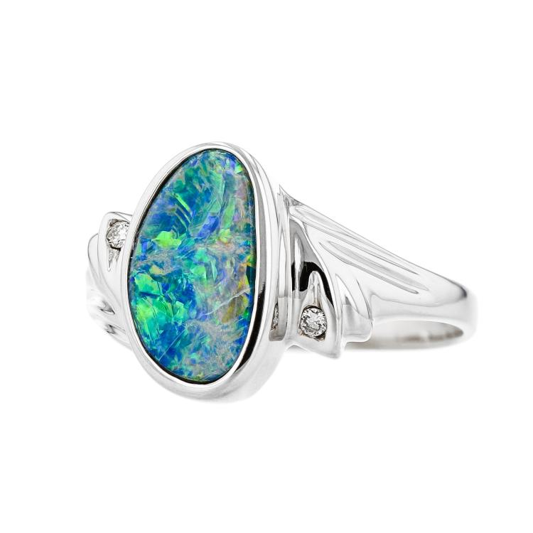 Gorgeous Modern Ladies 14K White Gold Diamond & Opal Ring - Brand New