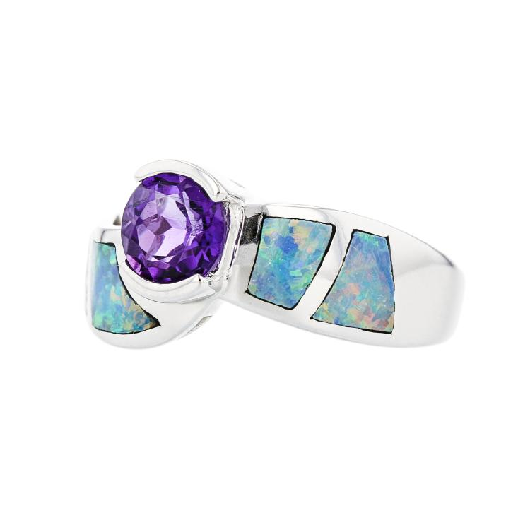 Unique Modern 14K White Gold Diamond Opal Amethyst Ladies Ring - Brand New