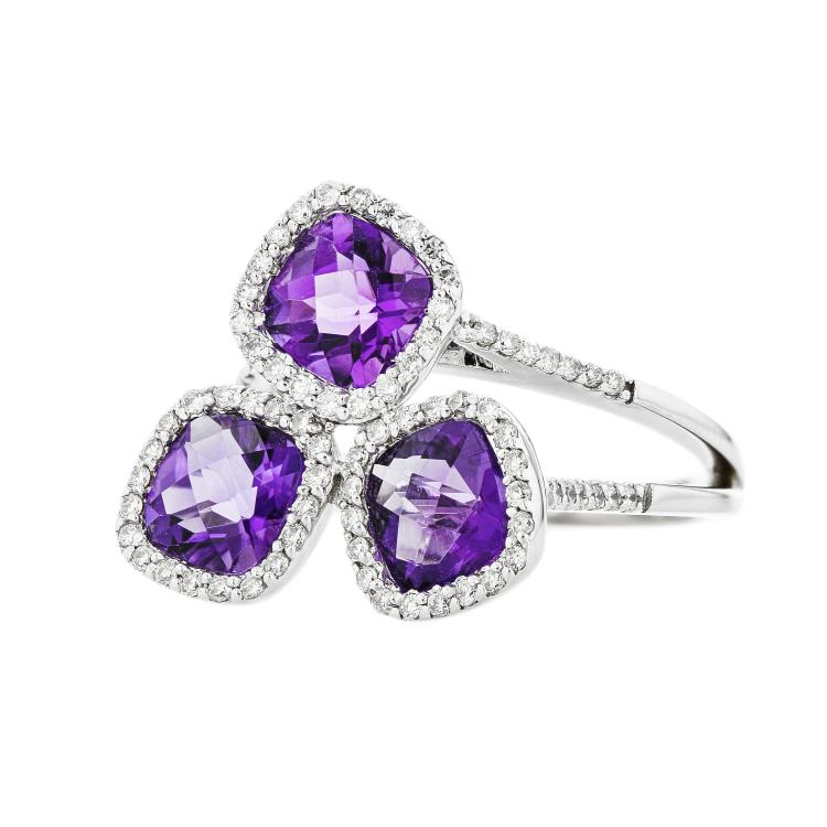 Sparkling Modern 18K White Gold Diamond&Amethyst Ladies Ring - Brand New