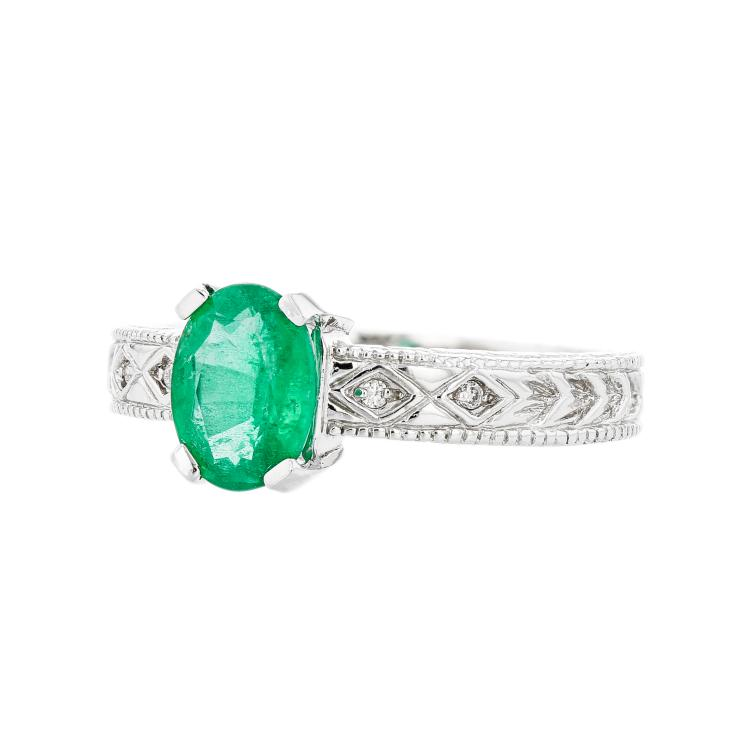 Charming Modern Lady's 14K White Gold Diamond & Emerald Ring - Brand New
