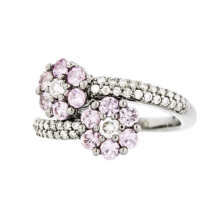 Charming Modern 18K White Gold Diamond & Sapphire Ladies Flower-Shaped Ring New