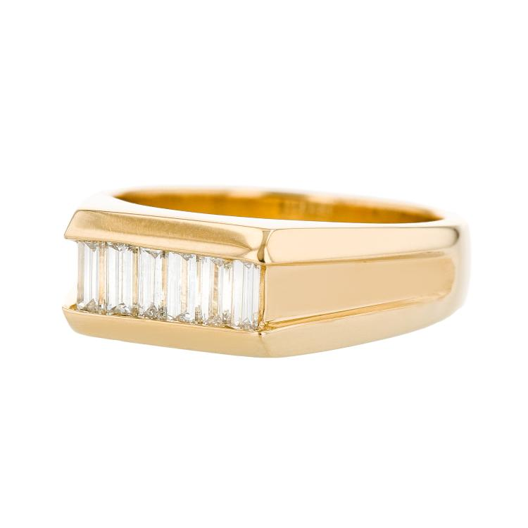 Elegant Modern 14K Yellow Gold Unisex/Mens/Womens Diamond Ring - Brand New