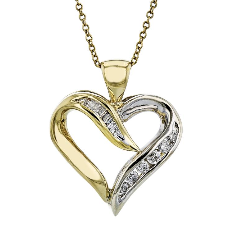 Modern Ladies 10K Yellow Gold Diamond Necklace & Heart-Shaped Pendant Set NEW