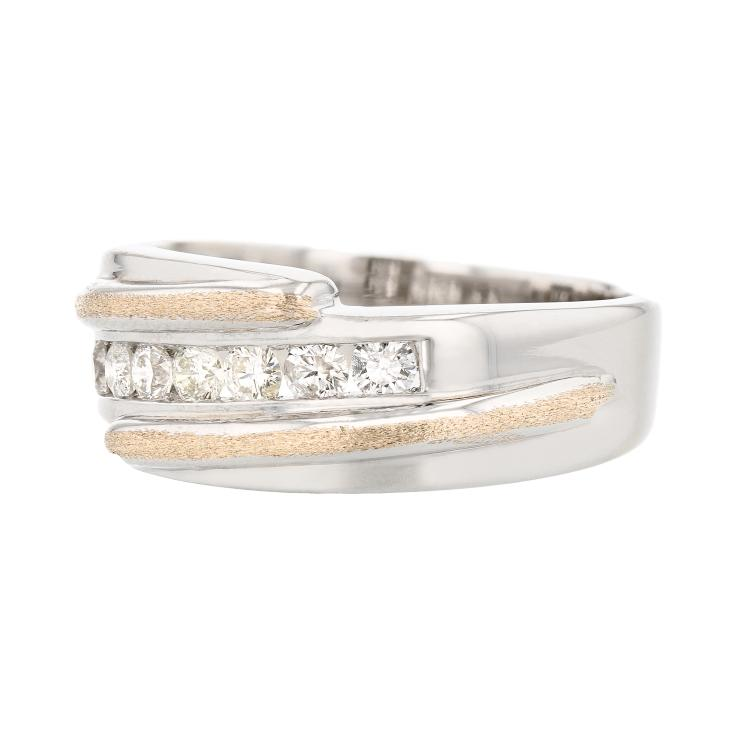 Stylish Modern 14K Two Tone White & Yellow Gold Diamond Mens/Womens/Unisex Ring