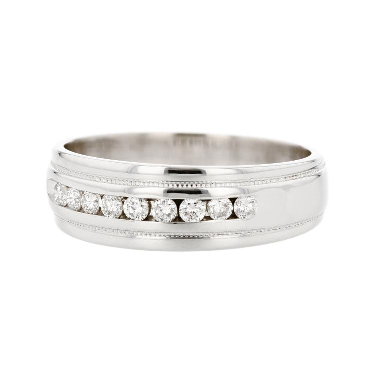 Stylish Modern 14K White Gold Mens/Womens/Unisex Diamond Ring - Brand New