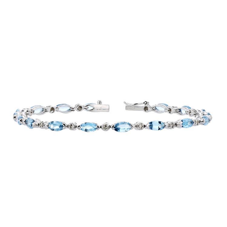 Charming Modern Ladies 14K White Gold Diamond & Blue Topaz Bracelet - Brand New
