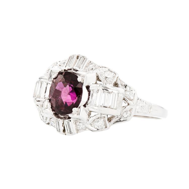 Stunning Modern Ladies Platinum Diamond & Red Ruby Ring - Brand New