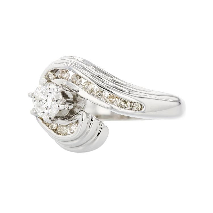 Stylish Modern 14K White Gold Ladies Diamond Swirl Ring - Brand New