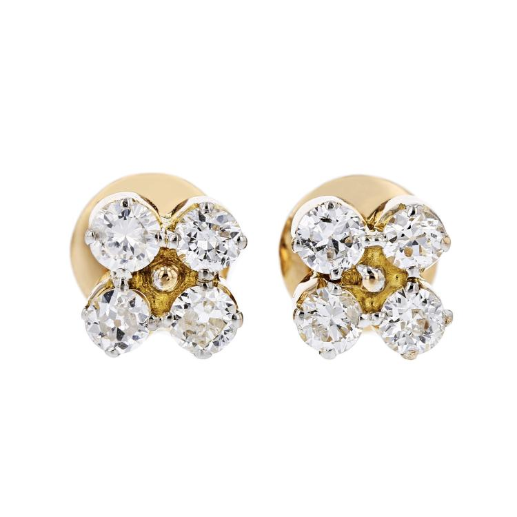 Exquisite Modern Ladies 18K Yellow Gold Diamond Stud Earrings - 1.12CTW - New