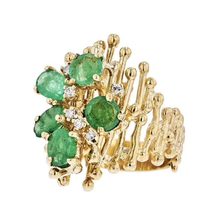 Exquisite Modern Ladies 18K Yellow Gold Emerald & Diamond Statement Ring - New